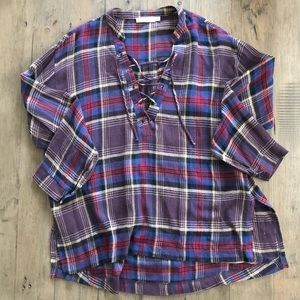 Lush Tops - LUSH | Tie Front Purple Plaid L/S Top Size Small